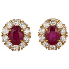 GIA Certified 18 Karat Yellow Gold Diamond Halo & Burma Ruby Earrings