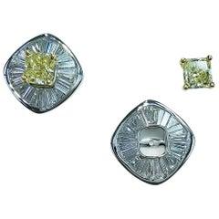 GIA Certified 18 Kw Gold Emerald Cut Fancy Yellow Diamond and Diamond Earrings
