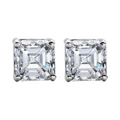 GIA Certified 1.80 Carat Asscher Cut Diamond Platinum Studs