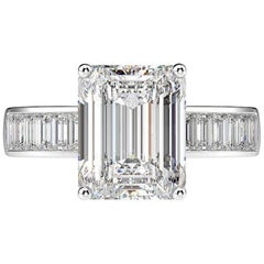 GIA Certified 1.80 Carat Diamond Engagement Ring with Side Emerald Cut Diamonds