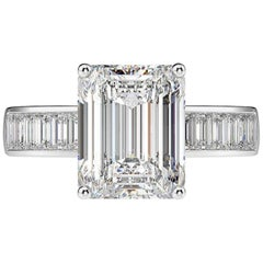 GIA Certified 2.25 Carat Diamond Engagement Ring with Side Emerald Cut Diamonds