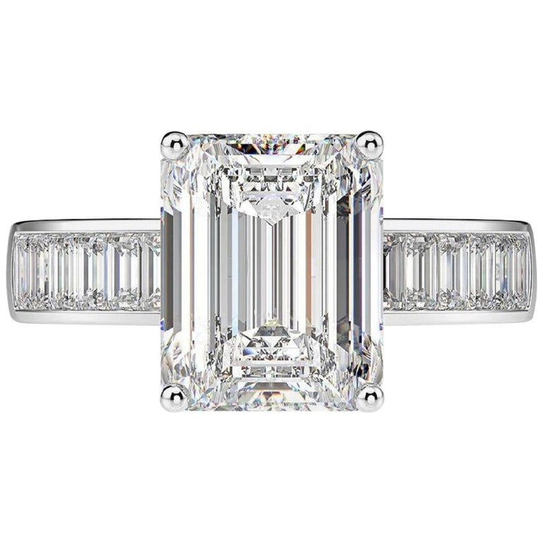 GIA Certified 2.25 Carat Diamond Engagement Ring with Side Emerald Cut Diamonds For Sale