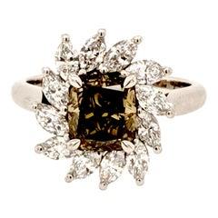 GIA Certified 1.80 Carat Fancy Dark Brown-Greenish Yellow Diamond Cocktail Ring