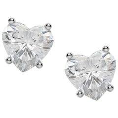 GIA Certified 1.80 Carat Heart Cut Shape Diamond Studs D/E Color VS2 Clarity