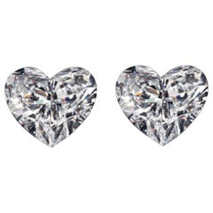 GIA Certified 1.80 Carat Heart Shape Cut Diamond Studs VS Clarity E/D Color