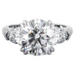 GIA Certified 2 Carat Round Brilliant Cut Diamond Ring E VS2 Triple Ex