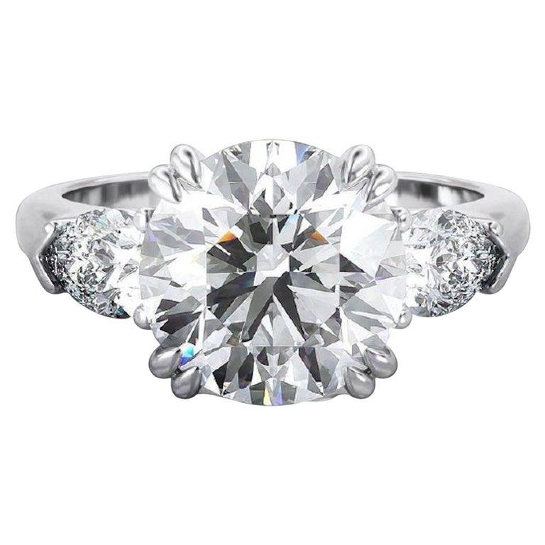 GIA Certified 2 Carat Round Brilliant Cut Diamond Ring E VS2 Triple Ex For Sale