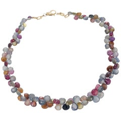 GIA Certified 18.00 Carat Multi-Color Sapphire Bead Yellow Gold Necklace