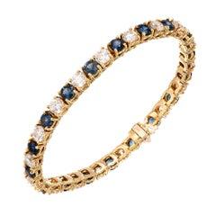 GIA Certified 18.00 Carat Sapphire Diamond Gold Link Tennis Bracelet