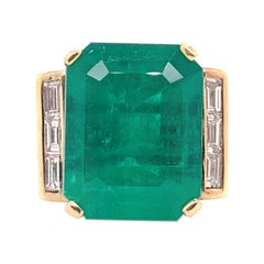 GIA Certified 18.07 Carat Columbian Emerald Diamond Ring