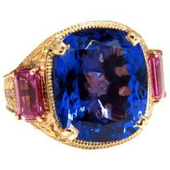 GIA Certified 18.09 Carat Natural Blue Cushion Tanzanite Sapphire Diamonds Ring