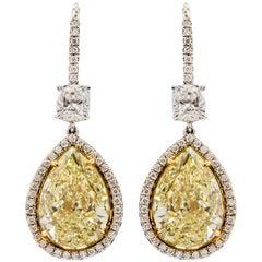 GIA Certified 18.09 Carat Total Weight Canary Yellow Pear Shape Drop Earrings