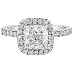 GIA Certified 1.81 Carat Cushion Cut Diamond Halo Engagement Ring