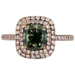 GIA Certified 1.81 Carat Fancy Gray-Yellowish Green Diamond Ring