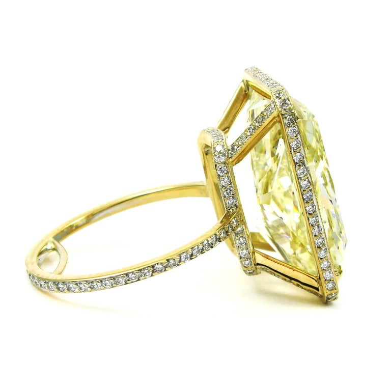 Women's or Men's GIA Certified 18.13 Carat Fancy Yellow Radiant Cut Diamond Yellow Gold Pave Ring For Sale
