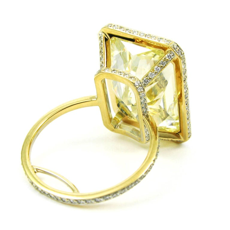 GIA Certified 18.13 Carat Fancy Yellow Radiant Cut Diamond Yellow Gold Pave Ring For Sale 1