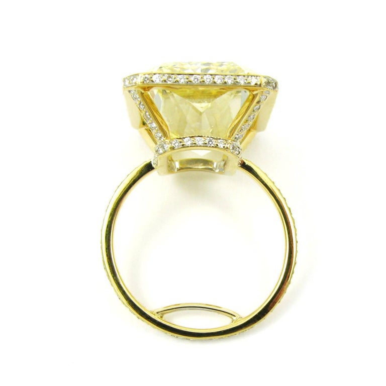 GIA Certified 18.13 Carat Fancy Yellow Radiant Cut Diamond Yellow Gold Pave Ring For Sale 2