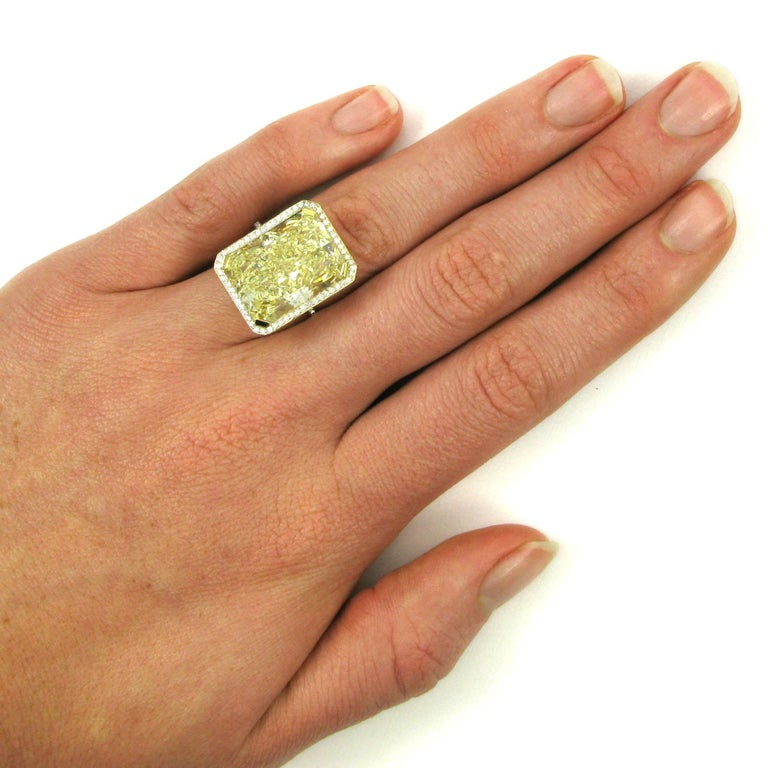 GIA Certified 18.13 Carat Fancy Yellow Radiant Cut Diamond Yellow Gold Pave Ring For Sale 3