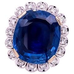 GIA Certified 18.16 Carat No Heat Cushion Cut Ceylon Sapphire Diamond Halo Ring