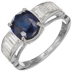 GIA Certified 1.82 Carat Blue Sapphire Diamond Platinum Engagement Ring
