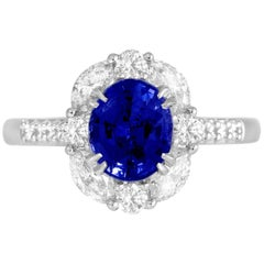 DiamondTown GIA Certified 1.83 Carat Oval Cut Ceylon Sapphire Halo Ring
