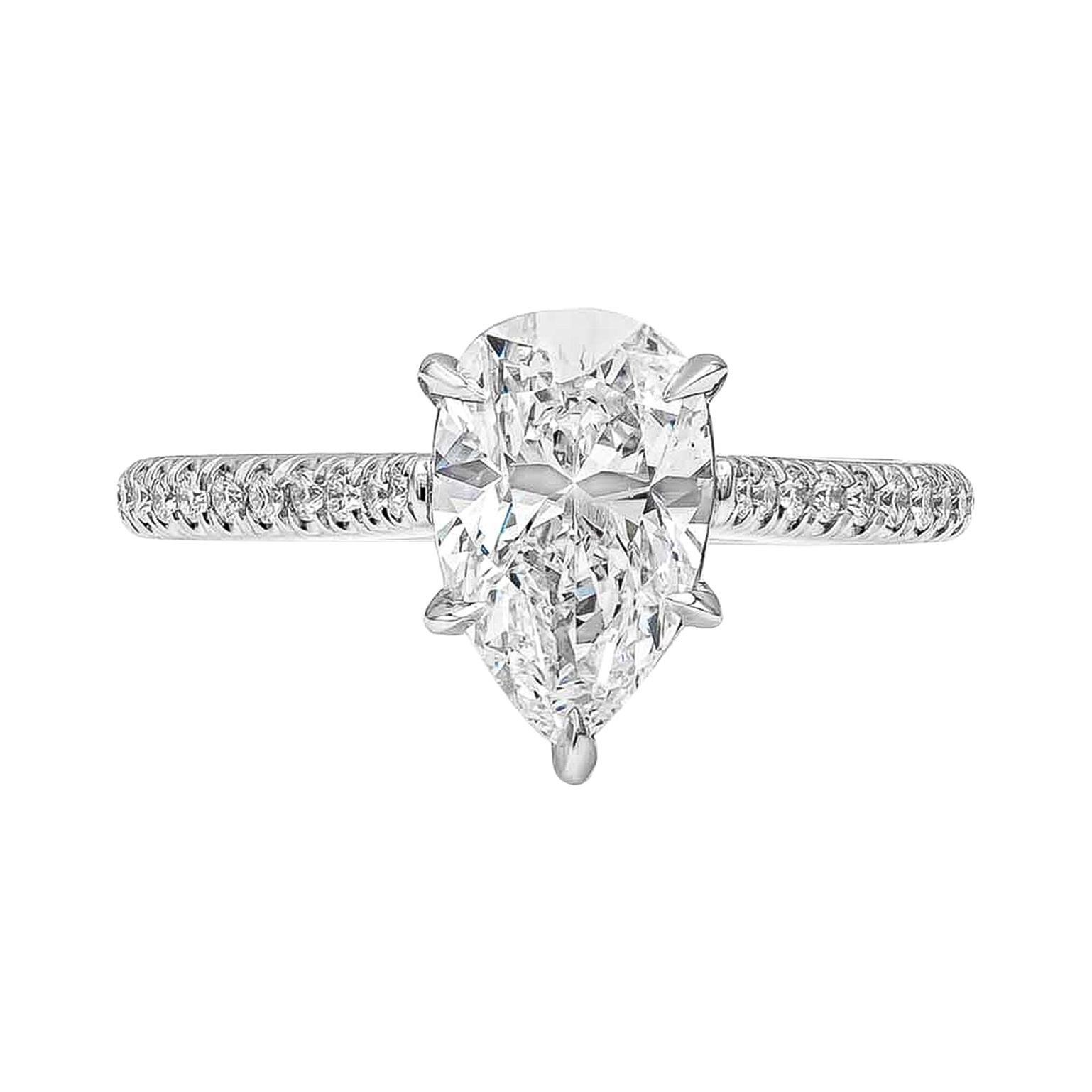 GIA Certified 1.84 Carat Pear Shape Diamond Engagement Ring