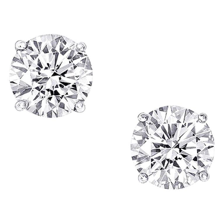 GIA Certified 1.84 Carat Round Cut Diamond Stud Earrings