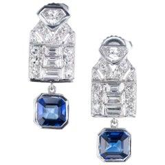 GIA Certified 1.84 Carat Sapphire Diamond Platinum Art Deco Dangle Earrings