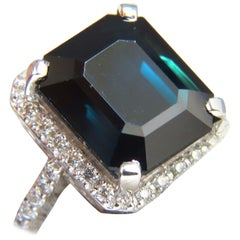GIA Certified 18.44 ct natural Deep Green Blue Sapphire diamond ring 18kt Halo