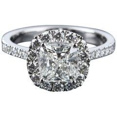 GIA Certified 1.85 Carat Cushion Cut Halo Diamond Ring 18 Carat White Gold