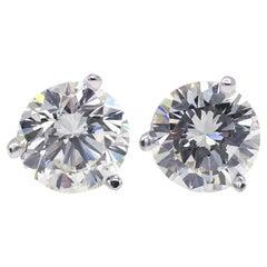 GIA Certified 1.85 Carat Round Brilliant Cut Diamond Martini Stud Earrings