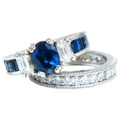 GIA Certified 1.86 Carat Natural Sapphire Diamonds Ring & Matching Eternity Band