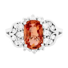 GIA Certified 1.86 Carat Padparadscha Sapphire and Diamond Ring