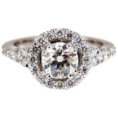 GIA Certified 1.86ct Round Diamond Ring I/VVs-1 Excellent 14kt Halo Ideal