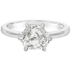GIA Certified 1.87 Carat Trapezoid Diamond Solitaire Engagement Ring