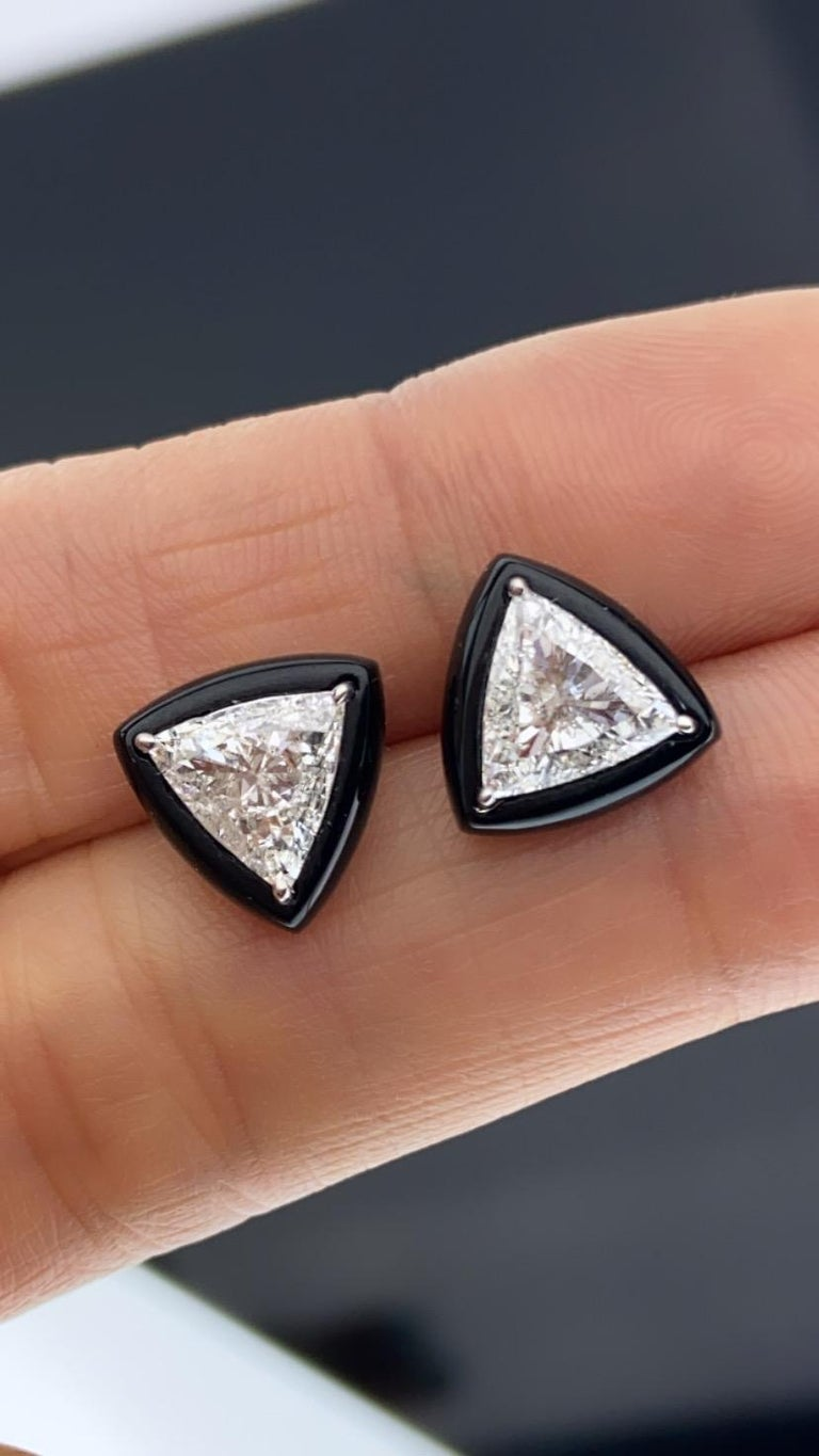 Trillion Cut GIA Certified 1.88 Carat Diamond and Black Onyx Solitaire Stud Earring For Sale