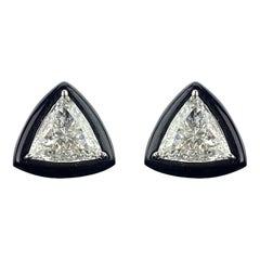GIA Certified 1.88 Carat Diamond and Black Onyx Solitaire Stud Earring