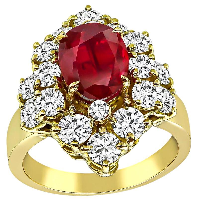 GIA Certified 1.88 Carat Ruby Diamond Gold Ring