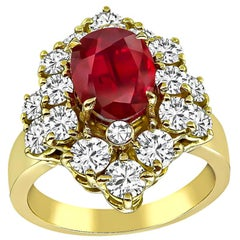 GIA Certified 1.88 Carat Ruby Diamond Gold Ring