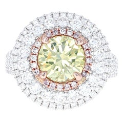 GIA Certified 1.89 Carat Fancy Intense Greenish Yellow VS2 Diamond Cocktail Ring