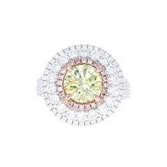 GIA Certified 1.89 Carat Fancy Intense Greenish Yellow VS2 Diamond Cocktail Ring