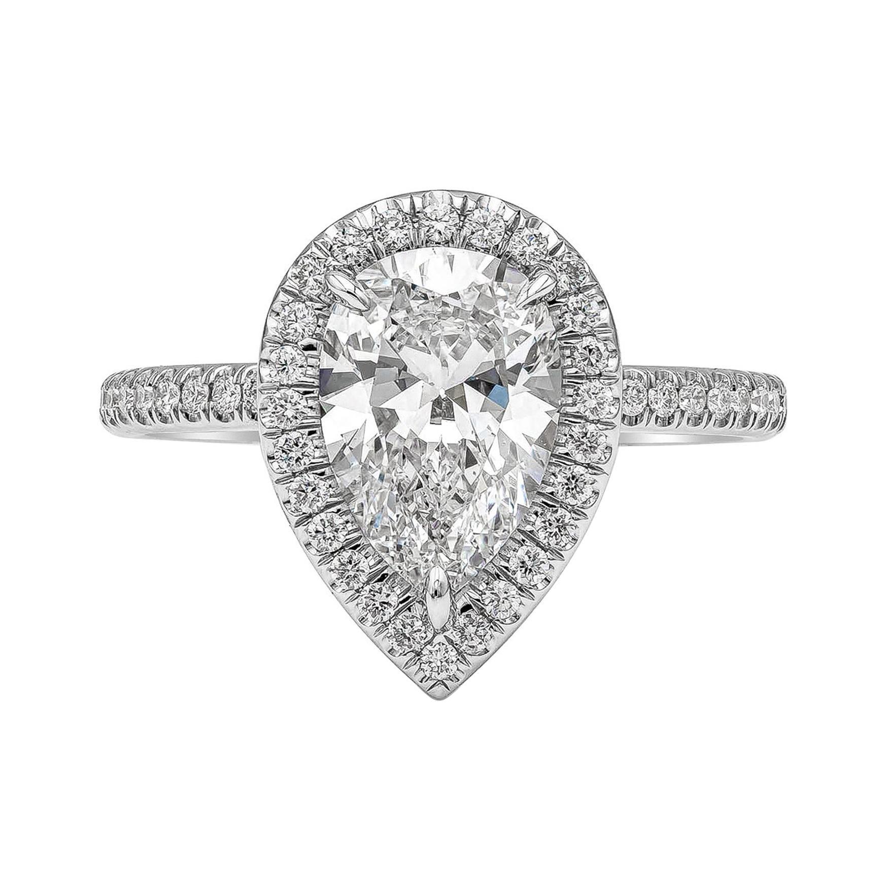 GIA Certified 1.89 Carat Pear Shape Diamond Halo Engagement Ring