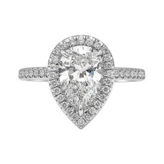 GIA Certified 1.89 Carat Pear Shape Diamond Halo Engagement Ring