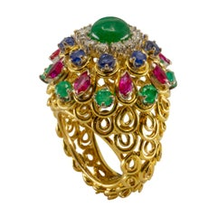 18K Gold Ring with Emeralds, Ruby, Sapphire and .36 carat Diamonds