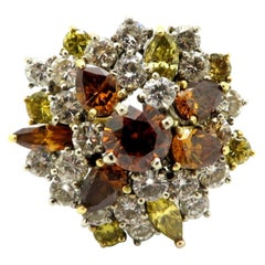 GIA Certified 18K Two-Tone Estate Fancy Brown and Yellow Diamond Cluster Ring