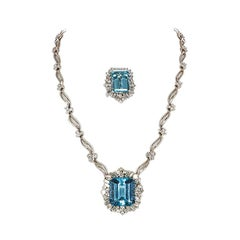 GIA Certified 18K Gold Diamond and Aquamarine Set Ring and Necklace or Brooch