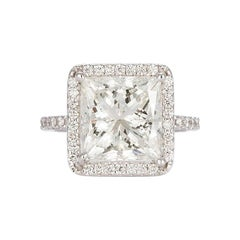 GIA Certified 18K White Gold & Princess Cut Diamond Halo Engagement Ring 6.15ctw