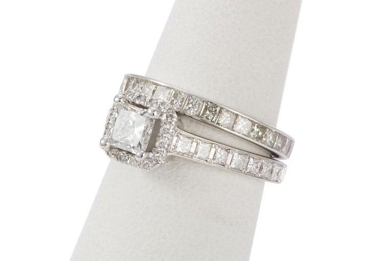 GIA Certified 18 Karat Gold and Princess Diamond Halo Wedding Set 3.58 Carat For Sale 5