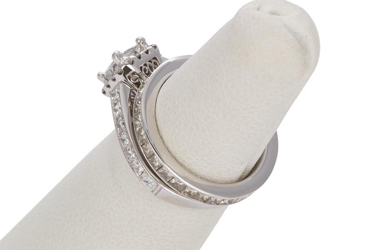 GIA Certified 18 Karat Gold and Princess Diamond Halo Wedding Set 3.58 Carat For Sale 6