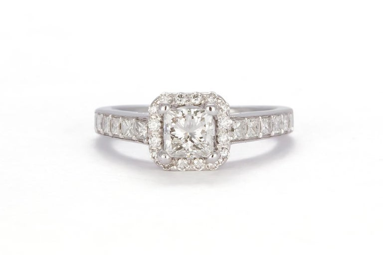 Contemporary GIA Certified 18 Karat Gold and Princess Diamond Halo Wedding Set 3.58 Carat For Sale